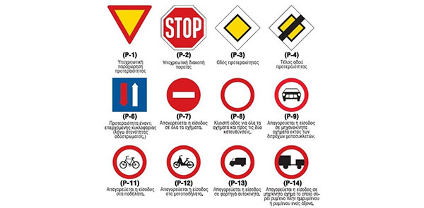 greek traffic signs